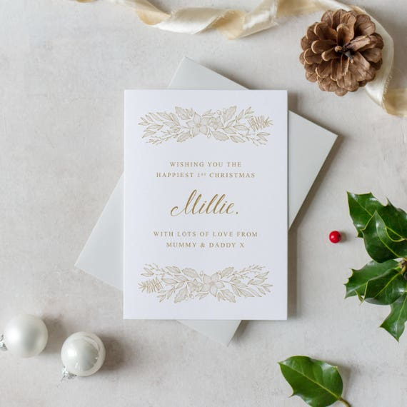 Personalised babys first christmas cards sentimental m4hsunfo