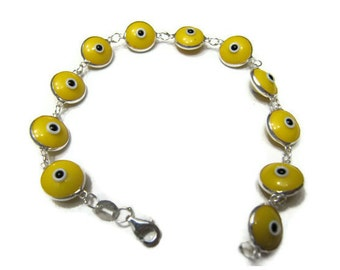 yellow evil eye  bracelet sterling silver 925