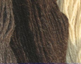 organic wool jacob sheep yarn brown(middle skein in photo)