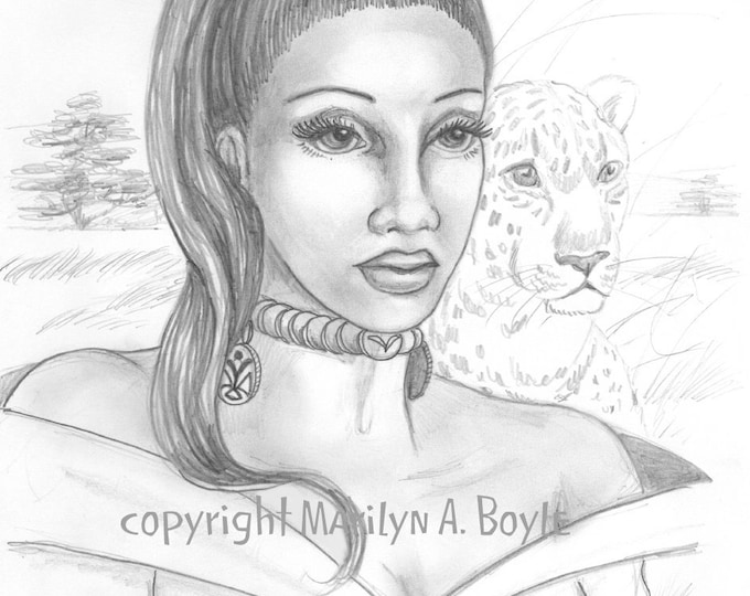 ORIGINAL- FANTASY- DRAWING; woman, Africa, veld, leopard, nature, pencil drawing, original art, plains, character portrait, wall art,
