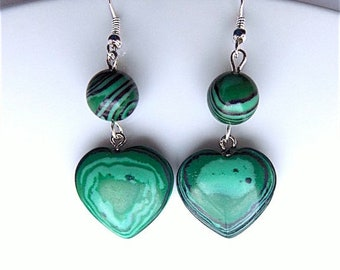 Malachite dangle earrings for pierced ears, hearts and rounds.