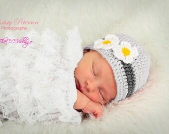 Grey Crochet Baby Hat, Newborn Prop, crochet beanie with handmade white flower