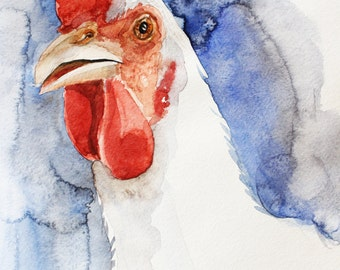 Print of Watercolor Painting, Hen art, Home decor, Bird art, chicken watercolor, Art watercolor, print art, pet gift, watercolor art OOAK
