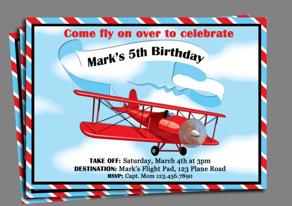 Vintage Airplane Birthday Invitation Printable or Printed with