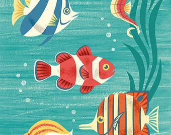 Scenic tropical sea life featuring a clownfish in mid century modern style - art print by Pieter M. Dorrenboom