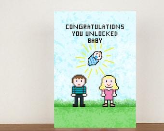 Congratulations You Unlocked Baby Card, Congratulations Card, Congratulations, New Baby, Twins, Baby Boy, Baby Girl, Card