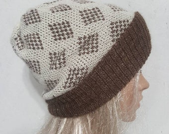 Alpaca Knit Slouch Hat, Suri Alpaca Slouch Hat, Natural Alpaca Hat, Brown and White Slouch Hat, Handmade Slouch Hat