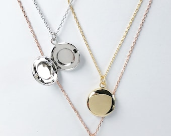 Locket necklace, Round Locket necklace, birthday gift, layering necklace, dainty jewelry, bridesmaid gifts, rose gold, gold, silver, locket