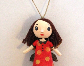 Mini doll red fairy with gold dots