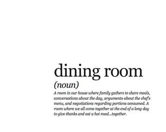 8x10 Dining Room Definition PDF Framable Print