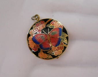 Cloisonne Butterfly Round Pendant Double sided Black Pink Blue Gold