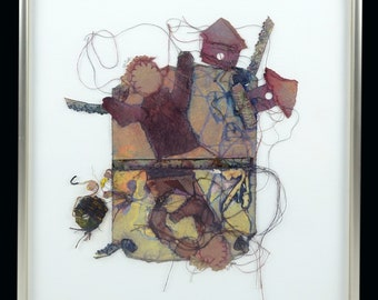 Mixed Media Collage Stitched Paper Con D. Youngberg