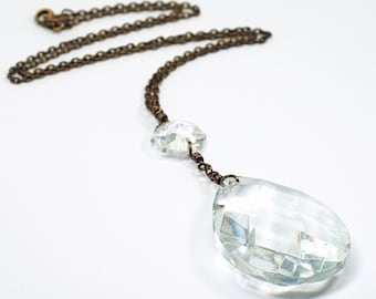 Chandelier Crystal Necklace- Bohemian, Romantic, Upcycled, Vintage Prism Jewelry, Antiqued Brass Chain, Crystal Pendant, Teardrop Necklace