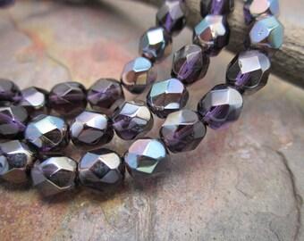 Deep Amethyst AB Fire polished 6mm Czech Glass Beads