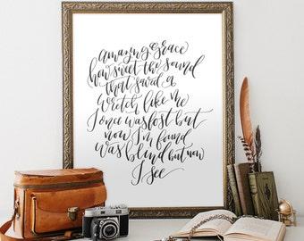 Amazing Grace Art Print, Christian Hymn Printable Art, hand lettered / black and white, verses for the walls, christian, PDF JPEG art print