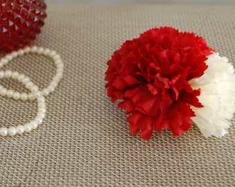 Rockabilly Red and White Triple Carnation Hair Flower, Vintage Inspired Hair Flower, Pin Up Style Hair Flower.