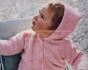 baby Jacket with Hood DK 20-24in Lee Target 6661 Knitting Pattern PDF instant download