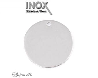 1 pendant round 30 mm stainless plated stainless steel set M01865 charm