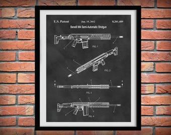 2012 Benelli M4 Patent Print - Poster -  Tactical Semi-Automatic Assault Shotgun - Weapon - Gun Enthusiast Gift - Semi-Automatic  Rifle