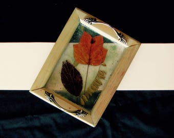 Art Serving Tray with Leaves and Copper dust
