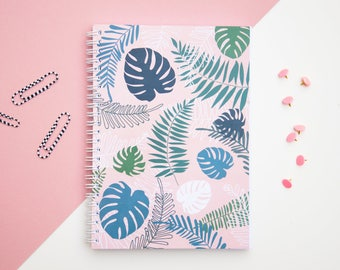 Bullet Journal Notebook, Notebook for Bujo. Dotted pages notebook A5. Bujo notebook A5. Spiral notebook. Bujo diary. Tropical, aloha, floral