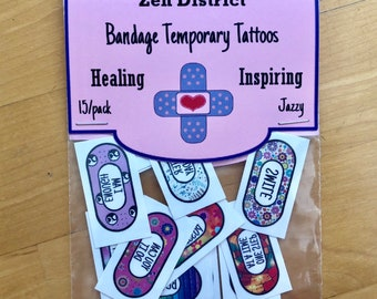 Temporary Tattoos for Anxiety, 15 pack, Positive Note to self Temporary Tattoos, Mental Health Tattoos, Self-Care Tool. JAZZY