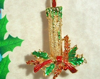 BOOK PIECE Vintage Christmas CANDLE Enamel Holly Pin - Signed Gerry's