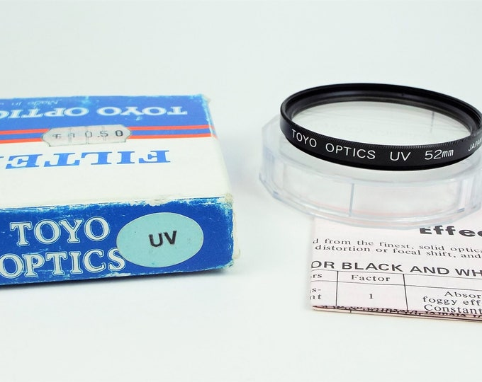 Toyo Optics 52mm UV Screw On Metal and Glass Filter - Japan - with Original Box and Instruction Sheet - Mint