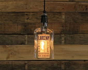 Larceny Bourbon Bottle Pendant Light - Upcycled Industrial Hanging Light - Handmade Bottle Light Fixture, Dorm Lighting, Father's Day Gift