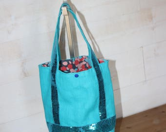 Tote bag for girl in turquoise linen and glitter