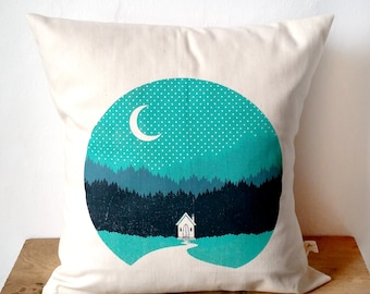"Cabin Mountains Camping Screen Print Cushion sized approx. 12""x12"""
