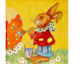 Set of 3 paper napkins PAQ001 rabbits and Easter eggs