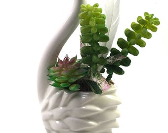 Faux succulent plant arrangement in vintage midcentury white swan planter with feather
