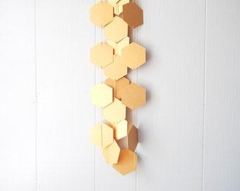 Hexagon Gold Honeycomb Garland Bunting / Geometric wall hanging / Photo Prop / Baby Shower