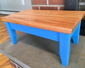 Hardwood Step Stool Oak top - Peaceful Blue
