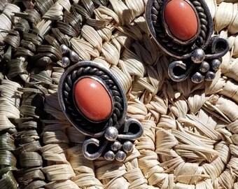 Vintage Navajo Sterling Silver Coral Post Earrings