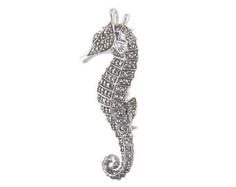 Marcasite Seahorse Sterling Silver Brooch