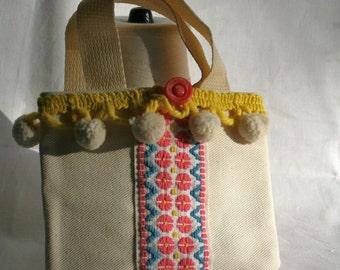 Tote Bag Vintage Fabric Mini Pink Yellow OOAK