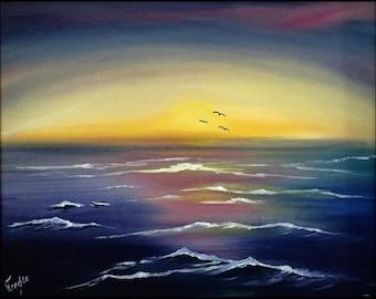 Sunset in oil