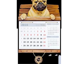 Yellow dog French bulldog Dog calendar Calendar office Calendar gift Large calendar Frenchie bulldog France bulldog Mustard yellow а3к65