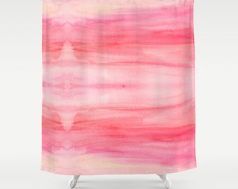 Pink Watercolor Wash Shower Curtain - pink ombre abstract shower curtain, blush, rose, peony