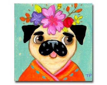 ORIGINAL PUG dog painting cute little acrylic painting pet portrait fawn pugs folk dog with flowers by Tascha