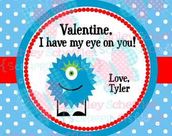 Valentine's Day Tag. I've got my eye on you. Monster.  Valentine. Class Valentines. Printable Tag. PDF File.. Personalized. Square Tag. Blue
