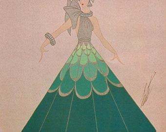 Erté Print, Art Deco Dress Design. Original Vintage Art Print. Sumptuous Eye Catching Color. Highly Decorative Wall Hanging
