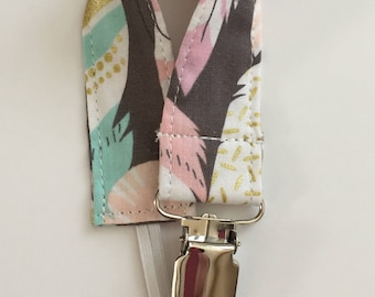 custom pacifier clip/toy strap ~ pastel feathers ~ universal fit ~ chic couture ~ baby accessories ~ custom made from lillybelle designs