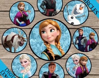 "Frozen 1"" Circles! Digital Download! Printable One Inch Bottle Caps!"