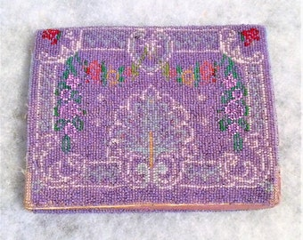 20s 30s Vintage Purple Beaded Clutch Envelope Purse from Germany