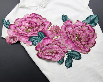 1 piece Embroidery Flowers Appliques, sew-on Patches For Wedding Supplies,Appliques Flower,For dress DIY(83-61)