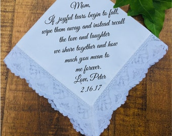 Mother of the Groom Gift from Son, Wedding Day Gift, Mother of the Groom Gift from Groom, Mother of the Groom Handkerchief PRINTED (H 009)