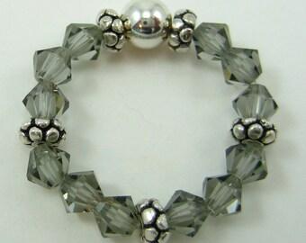 Black Diamond Swarovski Crystal and Sterling Silver Stretch Ring (R46)